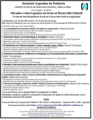 Curso Miradas e Interrogantes en torno al Desarrollo Infantil. SAP. Junio 8, 2019. CABA