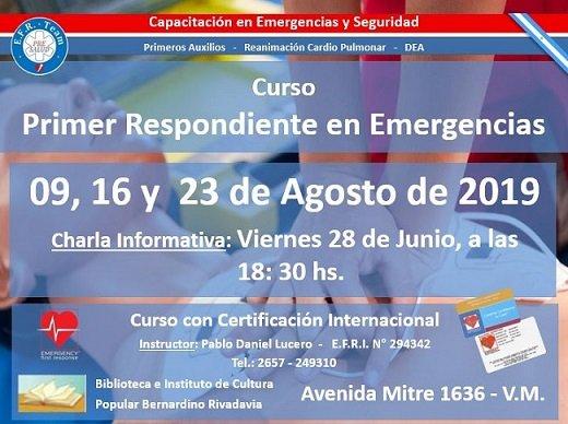 Curso 1er. Respondiente en Emergencias. PRESALUD. Inicio agosto 9, 2019. San Luis. Argentina