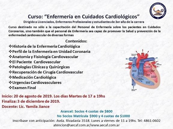 Curso Enfermería en Cuidados Cardiológicos. AECAF. Inicio agosto 20, 2019. CABA