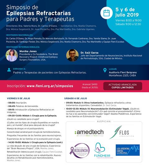 Simposio Epilepsias Refractarias para Padres y Terapeutas. Fleni. Inicio julio 5, 2019. CABA