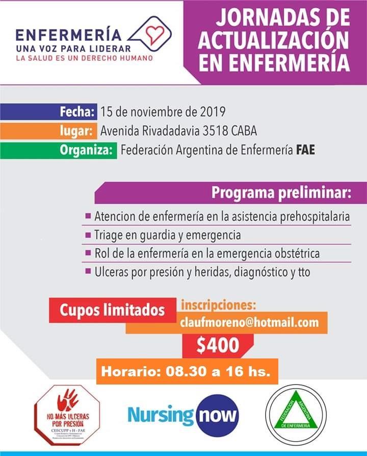Jornadas de Actualización en Enfermería. FAE. Noviembre 15, 2019. CABA