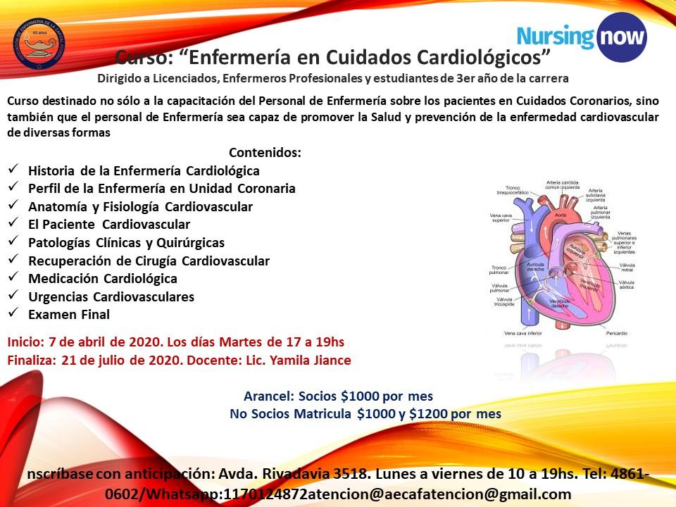Curso Enfermería en Cuidados Cardiológicos. AECAF. Inicio abril 7, 2020. CABA