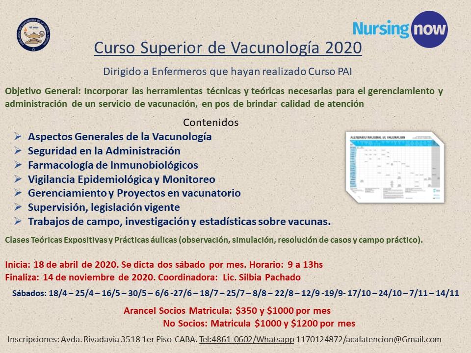 Curso Superior de Vacunología. AECAF. Inicio abril 18, 2020. CABA