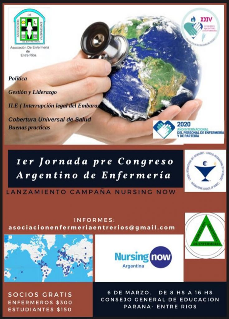 1ra. Jornada Pre Congreso Argentino de Enfermería. Marzo 6, 2020. Paraná. Entre Ríos. Argentina